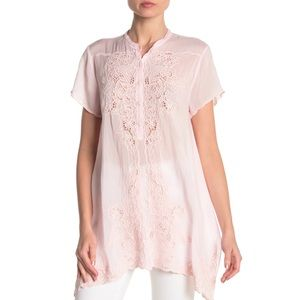 Johnny Was Dina Embroidered Light Pink Top Sz.M